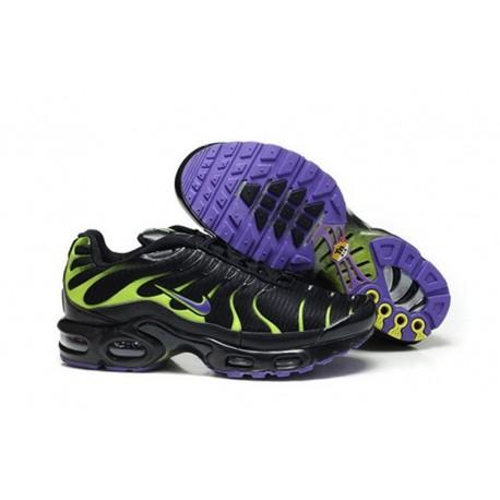 En ligne Nike Air Max TN 2018 Homme Chaussures Noir/Violet/Fluorescent Verte Soldes Pas Cher