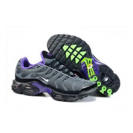 Acheter Nike Air Max TN 2018 Homme Chaussures Anthracite/Blanche/Violet/Fluorescent Verte France