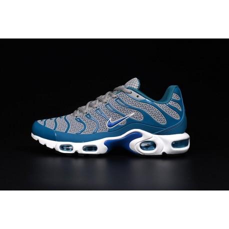 En ligne Nike Air Max TN 2018 Homme Chaussures Grise/Bleu/Blanche Soldes