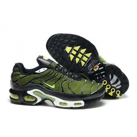 Nouveau Homme Nike Air Max TN Chaussures Noir Verte Moins Pas Cher
