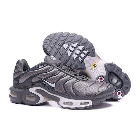 Hommes Nike Air Max TN Chaussures Argent Gris/Blanc