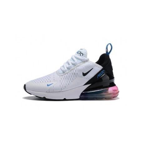 Femmes/Hommes Nike Air Max 270 Blanc/Noir/Bleu Pas Cher