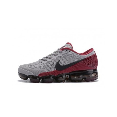 Hommes Nike Air Vapormax Flyknit Gris/Rouge Pas Cher