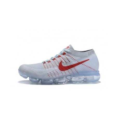 Hommes Nike Air Vapormax Flyknit Blanc/Rouge Pas Cher