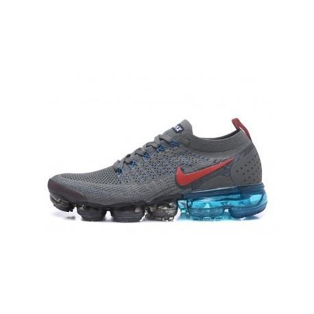 Hommes Nike Air Vapormax Flyknit 2.0 Gris/Bleu Pas Cher