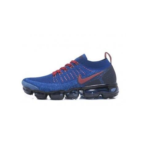 Hommes Nike Air Vapormax Flyknit 2.0 Bleu/Rouge Pas Cher