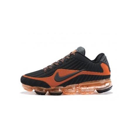Hommes Nike Air Vapormax Flyknit Noir/Gris/Orange Pas Cher