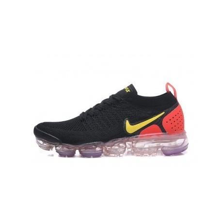 Femme/Homme Nike Air Vapormax Flyknit 2.0 Noir/Rouge Pas Cher